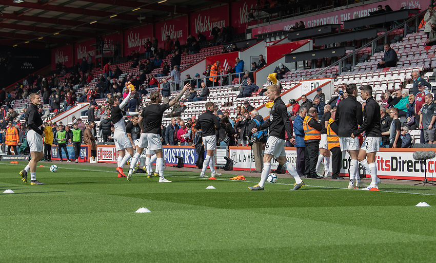 Burnley during the pre-match warm-up and throwing souvenirs to the fans<br /> <br /> Photographer David Horton/CameraSport<br /> <br /> The Premier League - Bournemouth v Burnley - Saturday 6th April 2019 - Vitality Stadium - Bournemouth<br /> <br /> World Copyright © 2019 CameraSport. All rights reserved. 43 Linden Ave. Countesthorpe. Leicester. England. LE8 5PG - Tel: +44 (0) 116 277 4147 - admin@camerasport.com - www.camerasport.com