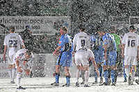 Macclesfield and Wycombe players start an impromptu snowball fight as the teams leave the field after the game was abandoned after twenty two minutes during Wycombe Wanderers vs Macclesfield Town, Coca Cola League Division Two Football at Adams Park on 28th October 2008