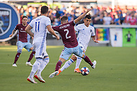 SAN JOSÉ CA - JULY 27: Keegan Rosenberry #2 and Nick Lima #24 during a Major League Soccer (MLS) match between the San Jose Earthquakes and the Colorado Rapids on July 27, 2019 at Avaya Stadium in San José, California.