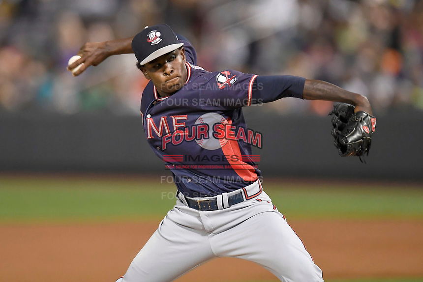 Relief pitcher Bladimir Matos (45) of the Rome Braves in a game against the Greenville Drive on Friday, August 11, 2017, at Fluor Field at the West End in Greenville, South Carolina. Greenville won, 1-0. (Tom Priddy/Four Seam Images)