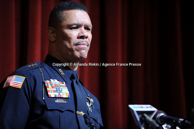DeKalb Police Chief Donald Grady addresses reporters at a press conference a day after a deadly school shooting at Northern Illinois University in DeKalb, Illinois on February 15, 2008. Stephen Kazmierczak, 27, opened fire in Cole Hall killing five students and wounding 15 others before turning his gun on himself, police said.
