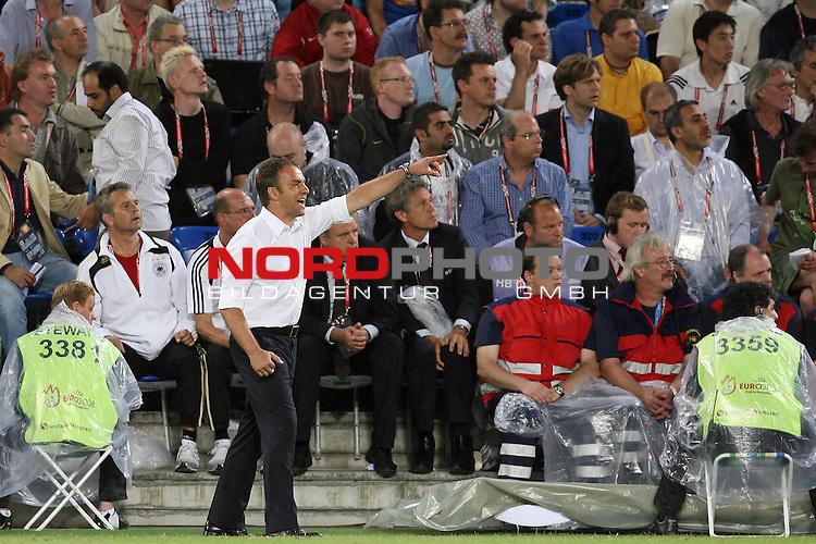 UEFA Euro 2008 Quarter-Finals Match 25 Basel - St. Jakob-Park. Portugal ( POR ) - Deutschland ( GER ) 2:3 (1:2). <br /> Hans-Dieter Flick ( Germany / Co-Trainer / Coach ) gestikuliert an der Seitenlinie. Joachim Loew (L&ouml;w) - ( Germany / Trainer / Coach ) war auf die Trib&uuml;ne verbannt worden.  <br /> Foto &copy; nph (  nordphoto  )