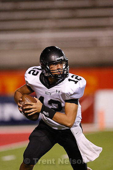 Trent Nelson  |  The Salt Lake Tribune.Alta quarterback Tyson Blackner looks for a receiver. Bingham vs. Alta High School football at Rice-Eccles Stadium in Salt Lake City, Utah, Saturday, August 27, 2011.