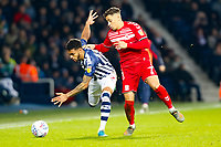 29th December 2019; The Hawthorns, West Bromwich, West Midlands, England; English Championship Football, West Bromwich Albion versus Middlesbrough; Kyle Edwards of West Bromwich Albion holds off Marcus Tavernier of Middlesbrough - Strictly Editorial Use Only. No use with unauthorized audio, video, data, fixture lists, club/league logos or 'live' services. Online in-match use limited to 120 images, no video emulation. No use in betting, games or single club/league/player publications