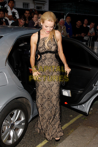 Naomi Watts.Arrivals at the Glamour Women Of The Year Awards, Berkeley Square Gardens, London, England..May 29th, 2012.full length black lace dress clutch bag looking down car .CAP/AH.©Adam Houghton/Capital Pictures.