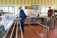 Emergenza Coronavirus - fase due - ATB Group operai in mensa rispettano la distanza sociale Roncadelle 08/06/2020<br /> <br /> Coronavirus emergency - phase two - ATB Group workers in company canteen respect the social distance Roncadelle 08/06/2020