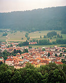SWITZERLAND, Couvet, elevated hillside view of the town of Couvet, Jura Region