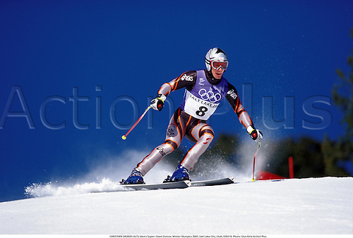 CHRISTOPH GRUBER (AUT), Men's Super-Giant Slalom, Winter Olympics 2002, Salt Lake City, Utah, 020216. Photo: Glyn Kirk/Action Plus....skiing.ski.skier.skiers.alpine skiing.winter sport.winter sports.wintersport.wintersports.olympic games