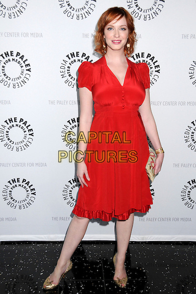 "CHRISTINA HENDRICKS .The 25th Annual Paley TV Festival Presents ""Mad Men"" at Arclight Cinemas, Hollywood, California, USA,  27 March 2008..full length orange red dress .CAP/ADM/BP.©Byron Purvis/Admedia/Capital PIctures"