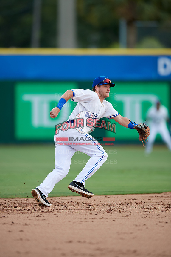 Dunedin Blue Jays shortstop Logan Warmoth (2) during a game against the Lakeland Flying Tigers on July 31, 2018 at Dunedin Stadium in Dunedin, Florida.  Dunedin defeated Lakeland 8-0.  (Mike Janes/Four Seam Images)