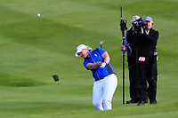 Caroline Hedwall (EUR) on the 18th during Day 3 Singles at the Solheim Cup 2019, Gleneagles Golf CLub, Auchterarder, Perthshire, Scotland. 15/09/2019.<br /> Picture Thos Caffrey / Golffile.ie<br /> <br /> All photo usage must carry mandatory copyright credit (© Golffile | Thos Caffrey)