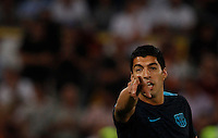 Calcio, Champions League, Gruppo E: Roma vs Barcellona. Roma, stadio Olimpico, 16 settembre 2015.<br /> FC Barcelona&rsquo;s Luis Suarez gestures as he warms up before to the start of a Champions League, Group E football match between Roma and FC Barcelona, at Rome's Olympic stadium, 16 September 2015.<br /> UPDATE IMAGES PRESS/Riccardo De Luca<br /> <br /> *** ITALY AND GERMANY OUT ***