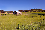 An abandoned cabin marks this lush pasture in the Palouse.  The Farmington Mountain View Cemetary can be seen in the distance.