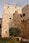 Israel, Jerusalem, The Tower of David museum at the Citadel. Phasael's Tower, Herod built a huge defensive tower, naming it after his brother Phasael. It was demolished by Hadrian in 135 AD and partially rebuilt in the 14th century<br />