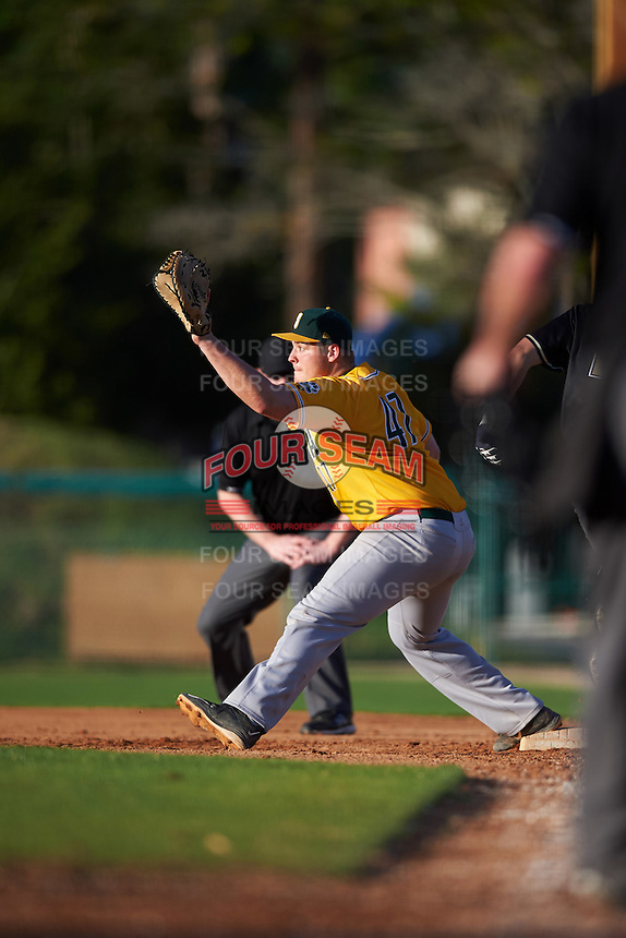 Siena Saints first baseman Joe Drpich (47) stretches for a throw during a game against the Pittsburgh Panthers on February 24, 2017 at Historic Dodgertown in Vero Beach, Florida.  Pittsburgh defeated Siena 8-2.  (Mike Janes/Four Seam Images)