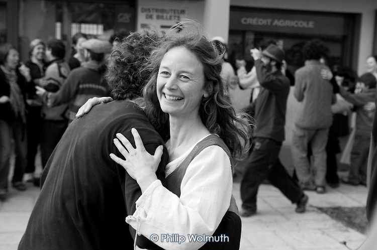 Dancing in the street at a festival of traditional music and instrument-makers, St Jean du Gard, France