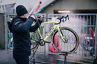 cleaning the bikes<br /> <br /> Men&rsquo;s Junior race<br /> <br /> UCI 2019 Cyclocross World Championships<br /> Bogense / Denmark<br /> <br /> &copy;kramon