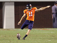 Sept. 3, 2011 - Charlottesville, Virginia - USA; Virginia Cavaliers kicker Chris Hinkebein (11) kicks the ball during an NCAA football game against William & Mary at Scott Stadium. Virginia won 40-3. (Credit Image: © Andrew Shurtleff