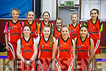 The Kenmare Kestrels U12 team who played St Colmans in the KABB U12 div 2 Basketball Final in Moyderwell Tralee on Saturday last. Kneeling l to r: Ellie Dowling, Laura Scanlon, Tara Cronin, Julia Salvado McCormack, Standing l to r: Mya Granville, Susan Torpey, Saoirse Buckley, Tara Desmond, Tamara Nikic and Laoise Carey.