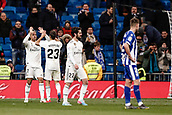 3rd February 2019, Santiago Bernabeu, Madrid, Spain; La Liga football, Real Madrid versus Alaves; Mariano Diaz (Real Madrid)  celebrates his goal which made it 3-0 in the 90th minute