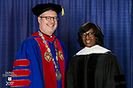 The Rev. Dennis H. Holtschneider, C.M., president, left, and Paulette Brown, honorary degree recipient and commencement speaker. DePaul University College of Law held its commencement ceremony, Sunday, May 14, 2017, at the Rosemont Theatre in Rosemont, IL, where some 240 students received their Juris Doctors or Master of Laws degrees. (DePaul University/Jeff Carrion)