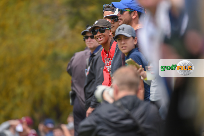 Fans lean out to watch Rickie Fowler's (USA) tee shot on 11 during day 3 of the Valero Texas Open, at the TPC San Antonio Oaks Course, San Antonio, Texas, USA. 4/6/2019.<br /> Picture: Golffile   Ken Murray<br /> <br /> <br /> All photo usage must carry mandatory copyright credit (© Golffile   Ken Murray)