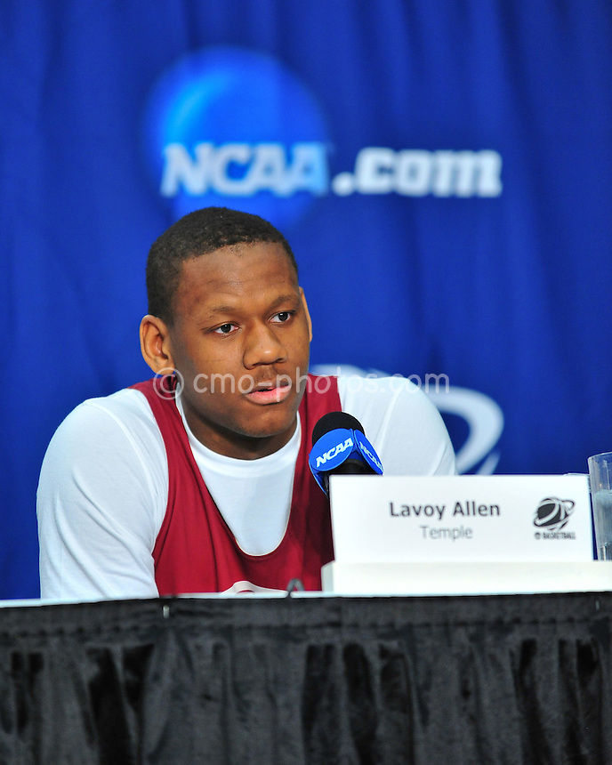 Mar 16, 2011; Tucson, AZ, USA; Temple Owls forward Lavoy Allen (24) during a press conference the day before the second round of the 2011 NCAA men's basketball tournament at the McKale Center.