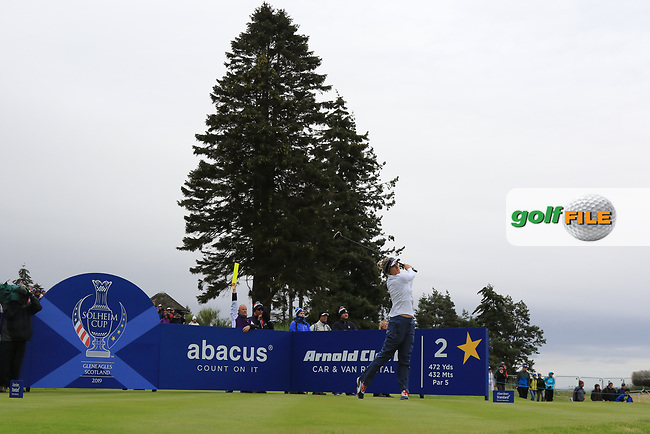 Lexi Thompson of Team USA on the 2nd tee during Day 2 Fourball at the Solheim Cup 2019, Gleneagles Golf CLub, Auchterarder, Perthshire, Scotland. 14/09/2019.<br /> Picture Thos Caffrey / Golffile.ie<br /> <br /> All photo usage must carry mandatory copyright credit (© Golffile | Thos Caffrey)