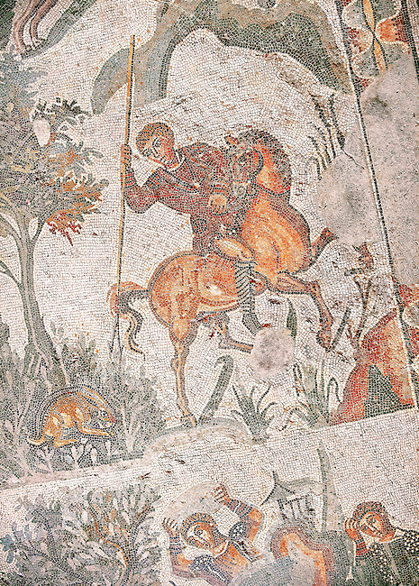 Hunter about to spear a hare From the Room of The Small Hunt, no 25 - Roman mosaics at the Villa Romana del Casale which containis the richest, largest and most complex collection of Roman mosaics in the world, circa the first quarter of the 4th century AD. Sicily, Italy. A UNESCO World Heritage Site.