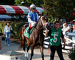 Seanow in the post parade as Opry (no. 8) wins the With Anticipation  Stakes (Grade 3), Aug. 29, 2018 at the Saratoga Race Course, Saratoga Springs, NY.  Ridden by  Javier Castellano, and trained by Todd Pletcher, Opry finished 1 1/2 lengths in front of Somelikeithotbrown (No. 7).  (Bruce Dudek/Eclipse Sportswire)