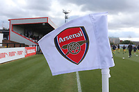 Arsenal corner flag during Arsenal Women vs Yeovil Town Ladies, FA Women's Super League FA WSL1 Football at Meadow Park on 11th February 2018