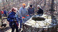 NWA Democrat-Gazette/FLIP PUTTHOFF <br /> A well or cistern gets the attention of hikers Nov. 30 2016  along the rim trail at White Rock Mountain.