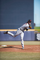 Scottsdale Scorpions starting pitcher Forrest Whitley (11), of the Houston Astros organization, follows through on his delivery during an Arizona Fall League game against the Peoria Javelinas at Peoria Sports Complex on November 15, 2018 in Mesa, Arizona. Peoria defeated Scottsdale 2-1. (Zachary Lucy/Four Seam Images)