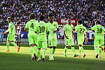 FC Barcelona´s players celebrate a goal during 2014-15 La Liga match between Atletico de Madrid and FC Barcelona at Vicente Calderon stadium in Madrid, Spain. May 17, 2015. (ALTERPHOTOS/Luis Fernandez)