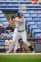 Hartford Yard Goats first baseman Brian Mundell (15) at bat during a game against the Binghamton Rumble Ponies on July 9, 2017 at NYSEG Stadium in Binghamton, New York.  Hartford defeated Binghamton 7-3.  (Mike Janes/Four Seam Images)