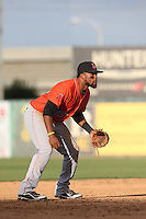 Sherman Johnson #10 of the Inland Empire 66ers during a playoff game against the Lancaster JetHawks at The Hanger on September 7, 2014 in Lancaster, California. Lancaster defeated Inland Empire, 5-2. (Larry Goren/Four Seam Images)