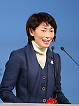 December 11, 2016, Tokyo, Japan - Japanese Minister in charge of Tokyo 2020 Olympics delivers a speech as she attends the ground breaking ceremony for the new national stadium in Tokyo on Sunday, December 11, 2016.  The new national stadium will be finished in November 2019. (Photo by Yoshio Tsunoda/AFLO) LWX -ytd-