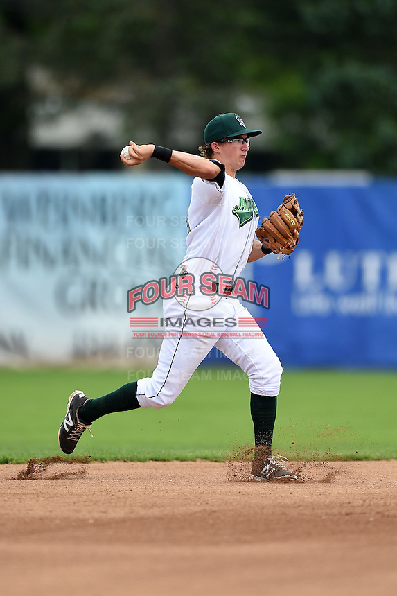 Jamestown Jammers shortstop Michael Fransoso (3) during a game against the Mahoning Valley Scrappers on June 16, 2014 at Russell Diethrick Park in Jamestown, New York.  Mahoning Valley defeated Jamestown 2-1.  (Mike Janes/Four Seam Images)