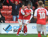 Fleetwood Town's Josh Morris (left) celebrates scoring his side's second goal with team-mate Wes Burns<br /> <br /> Photographer Kevin Barnes/CameraSport<br /> <br /> The EFL Sky Bet Championship - Fleetwood Town v AFC Wimbledon - Saturday 10th August 2019 - Highbury Stadium - Fleetwood<br /> <br /> World Copyright © 2019 CameraSport. All rights reserved. 43 Linden Ave. Countesthorpe. Leicester. England. LE8 5PG - Tel: +44 (0) 116 277 4147 - admin@camerasport.com - www.camerasport.com