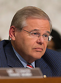"""United States Senator Robert Menendez (Democrat of New Jersey), Chairman of the U.S. Senate Foreign Relations Committee, questions the witnesses on """"Authorization of Use of Force in Syria""""  on Capitol Hill in Washington, D.C. on Tuesday, September 3, 2013.<br /> Credit: Ron Sachs / CNP"""