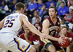 SIOUX FALLS, SD: MARCH 5: Thomas Neff #15 of Denver looks past South Dakota State defender Lane Severyn #25 during the Summit League Basketball Championship on March 5, 2017 at the Denny Sanford Premier Center in Sioux Falls, SD. (Photo by Dick Carlson/Inertia)
