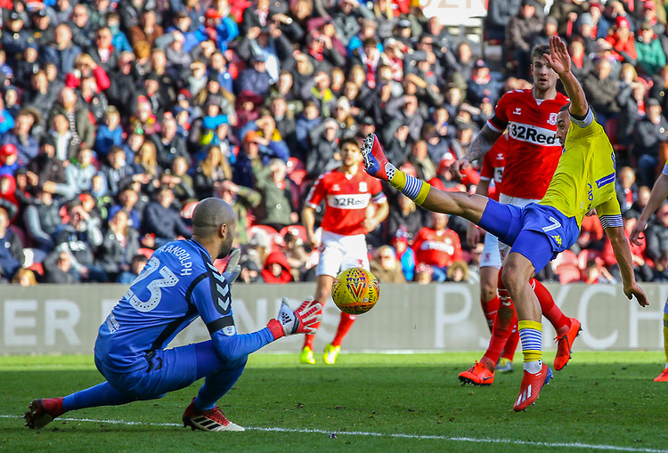 Leeds United's Kemar Roofe can't connect with a cross<br /> <br /> Photographer Alex Dodd/CameraSport<br /> <br /> The EFL Sky Bet Championship - Middlesbrough v Leeds United - Saturday 9th February 2019 - Riverside Stadium - Middlesbrough<br /> <br /> World Copyright &copy; 2019 CameraSport. All rights reserved. 43 Linden Ave. Countesthorpe. Leicester. England. LE8 5PG - Tel: +44 (0) 116 277 4147 - admin@camerasport.com - www.camerasport.com