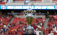 The Lamar Hunt US Open Cup is displayed before a game against Real Salt Lake and D.C. United at the U.S. Open Cup Final on October  1, 2013 at Rio Tinto Stadium in Sandy, Utah.