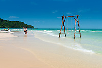 Tourists Taking Selfie On Paradise Beach Bai Sao, Phu Quoc, Vietnam