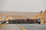 The peleton in the desert during Stage 3 of the 101st edition of the Giro d'Italia 2018 running 229km flat stage from Be'er Sheva to Eilat is the last in Israel. 6th May 2018.<br /> Picture: LaPresse/Fabio Ferrari | Cyclefile<br /> <br /> <br /> All photos usage must carry mandatory copyright credit (&copy; Cyclefile | LaPresse/Fabio Ferrari)