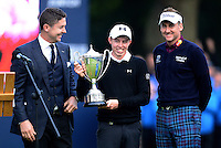 Matthew Fitzpatrick of England poses with the trophy during Round 4 of the 2015 British Masters at the Marquess Course, Woburn, in Bedfordshire, England on 11/10/15.<br /> Picture: Richard Martin-Roberts | Golffile