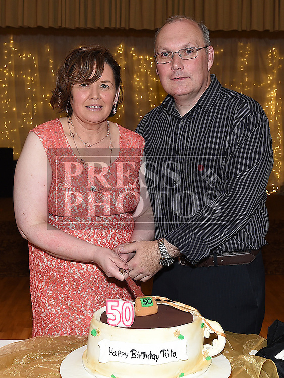 Rita Hanratty celebrating her 50th birthday in The Glenside Hotel with husband Declan. Photo:Colin Bell/pressphotos.ie
