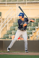 Sam Hilliard (25) of the Asheville Tourists at bat against the Kannapolis Intimidators at Kannapolis Intimidators Stadium on May 26, 2016 in Kannapolis, North Carolina.  The Tourists defeated the Intimidators 9-6 in 11 innings.  (Brian Westerholt/Four Seam Images)