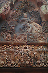 Angkorian temple Banteay Srei (late 10th century) 967.<br /> Gopuram II east.Pediment showing Shiva Nataraj.<br /> Banteay Srei temple is situated 20km north of Angkor, built during the reign of Rajendravarman by Yajnavaraha, one of his counsellors. In antiquity Isvarapura was a small city that grew up around the temple. Banteay Srei was dedicated to the worship of Shiva, the foundation stele describes the consecration of the linga Tribhuvanamahesvara (Lord of the three worlds) in 967.
