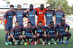 22 July 2016: Carolina's starters. Front row (from left): Brian Shriver, Omar Bravo (MEX), Nazmi Albadawi, Tiyi Shipalane (RSA), Kareem Moses (TRI). Back row (from left): Drew Beckie (CAN), Matt Fondy, James Marcelin (HAI), Brian Sylvestre, Matt Watson (ENG), Simon Mensing (ENG). The Carolina RailHawks hosted Miami FC at WakeMed Stadium in Cary, North Carolina in a 2016 North American Soccer League Fall Season game. The game ended in a 3-3 tie.
